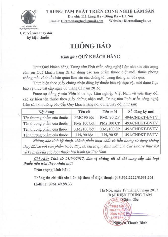 giấy đổi tên thuốc của Láng Hạ - TT PT CN LÂm Sản