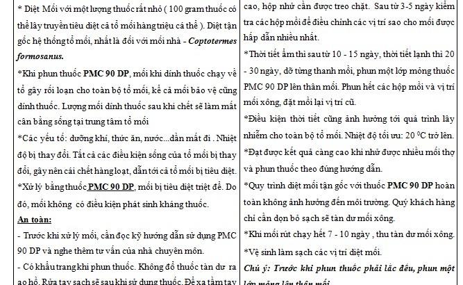 Giấy hướng dẫn sử dụng PMC 90 banthuocdietcontrung.com